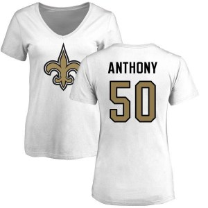 Stephone Anthony New Orleans Saints Women's White Name & Number Logo Slim Fit T-Shirt -