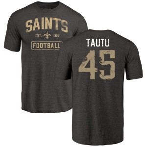 Sae Tautu New Orleans Saints Men's Black Distressed Name & Number Tri-Blend T-Shirt