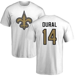 Travin Dural New Orleans Saints Men's White Pro Line Name & Number Logo T-Shirt -