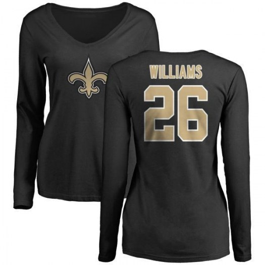 P.J. Williams New Orleans Saints Women's Black Name & Number Logo Slim Fit Long Sleeve T-Shirt -