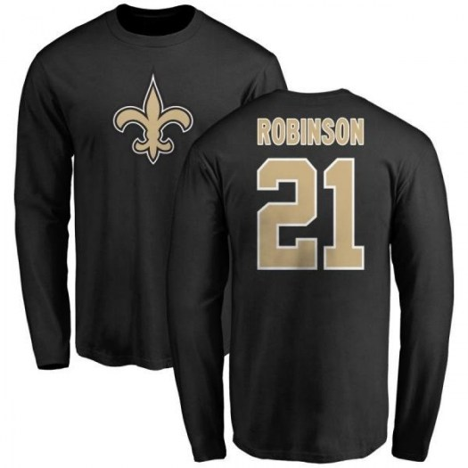 Patrick Robinson New Orleans Saints Men's Black Any Name & Number Logo Long Sleeve T-Shirt -