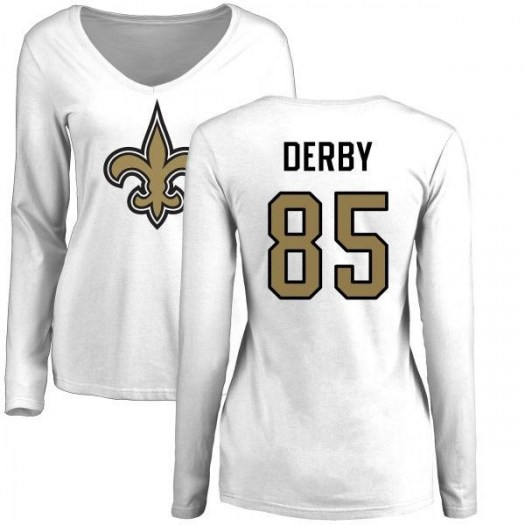 A.J. Derby New Orleans Saints Women's White Name & Number Logo Slim Fit Long Sleeve T-Shirt -