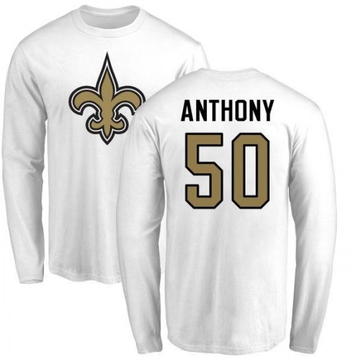 Stephone Anthony New Orleans Saints Men's White Name & Number Logo Long Sleeve T-Shirt -