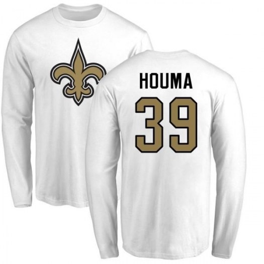 Sione Houma New Orleans Saints Men's White Name & Number Logo Long Sleeve T-Shirt -