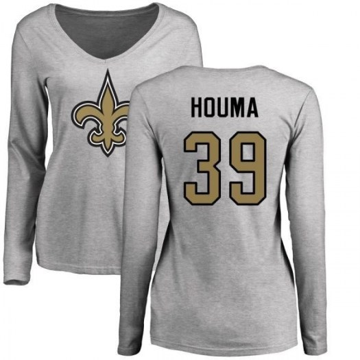 Sione Houma New Orleans Saints Women's Name & Number Logo Slim Fit Long Sleeve T-Shirt - Ash