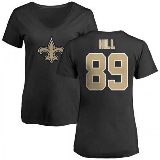 Josh Hill New Orleans Saints Women's Black Pro Line Any Name & Number Logo Slim Fit T-Shirt -