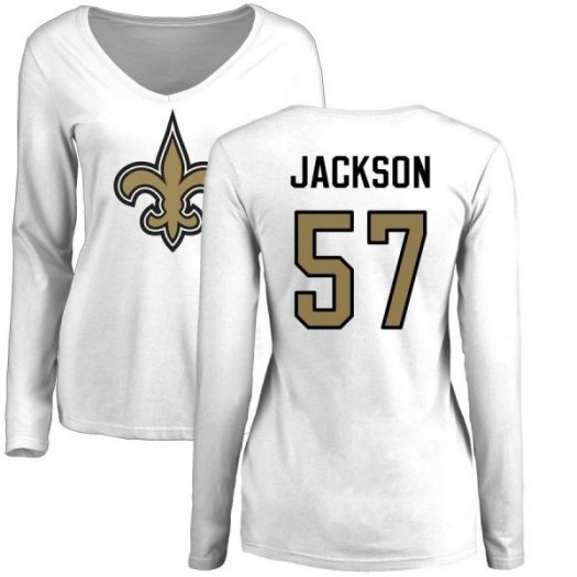 Rickey Jackson New Orleans Saints Women's White Pro Line Name & Number Logo Slim Fit Long Sleeve T-Shirt -